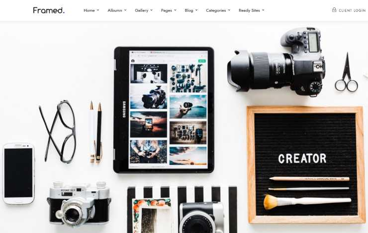 framed WordPress theme